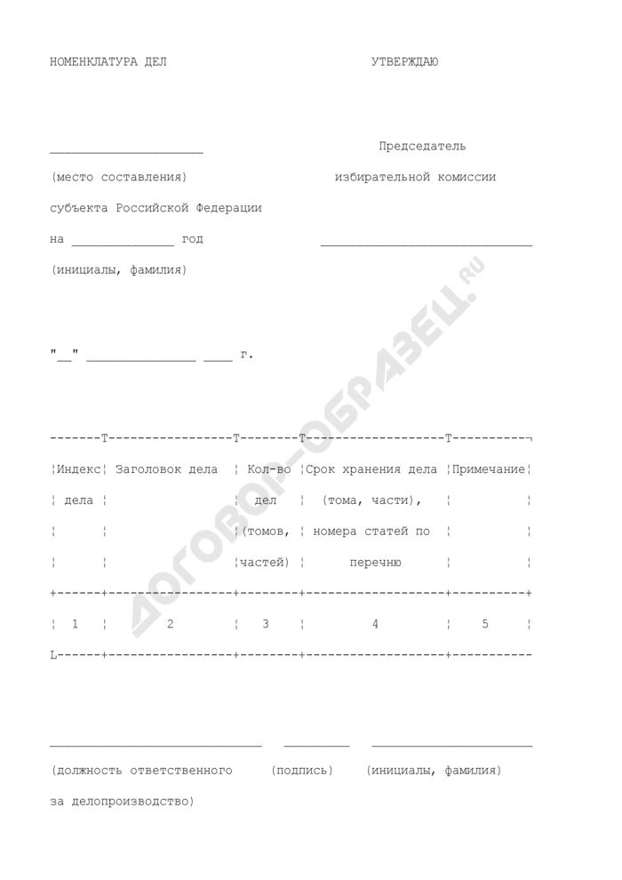 Номенклатура дел в избирательной комиссии субъекта Российской Федерации. Страница 1