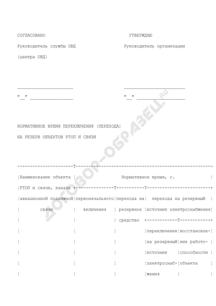 Нормативное время переключения (перехода) на резерв объектов радиотехнического обеспечения полетов и связи. Страница 1
