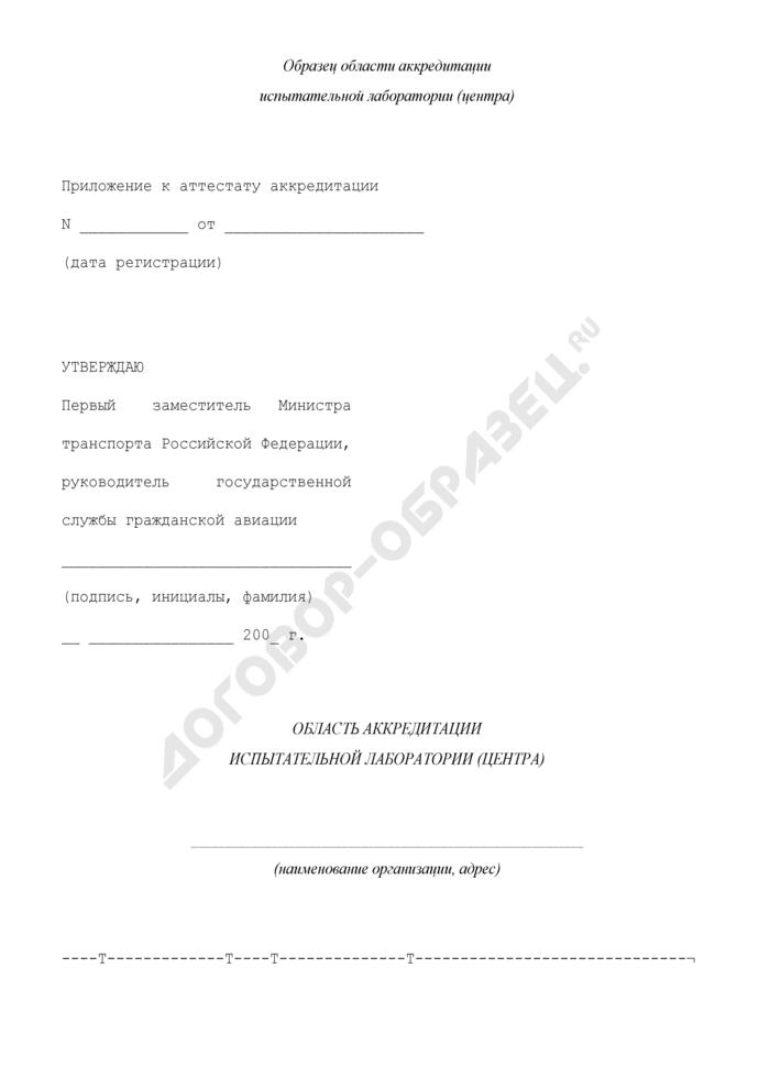 Область аккредитации испытательной лаборатории (центра) (приложение к аттестату аккредитации аккредитованного субъекта). Страница 1