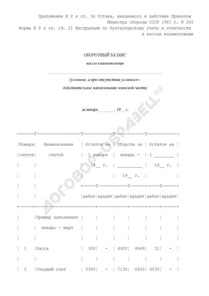 Оборотный баланс кассы взаимопомощи при воинской части. Форма N 8. Страница 1