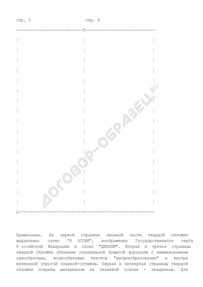 Образец (форма) твердой обложки дипломов о высшем профессиональном образовании. Страница 2