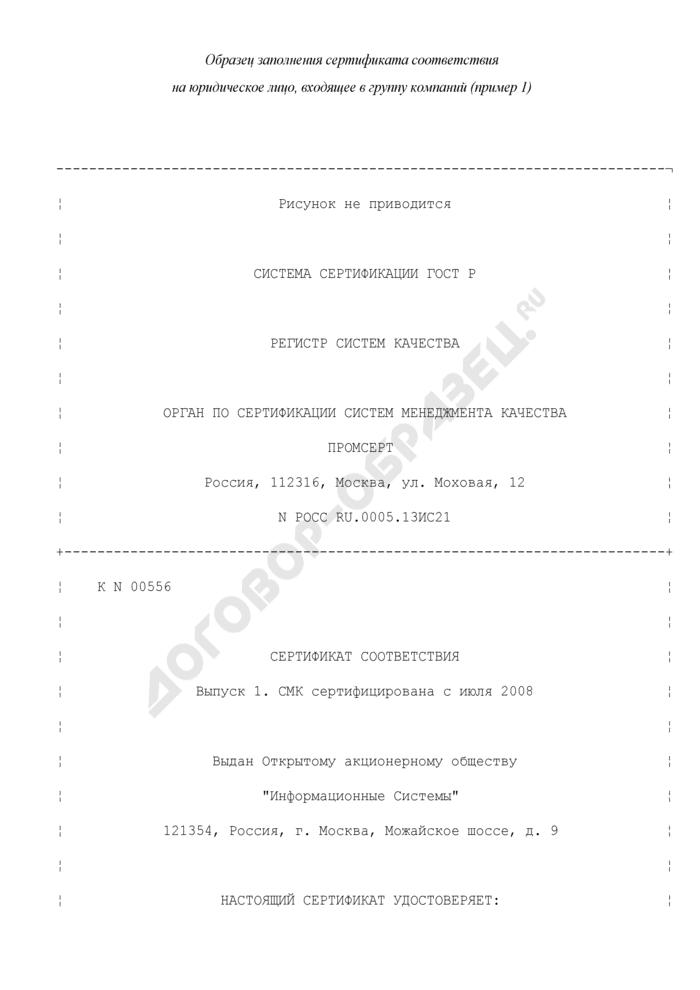 Образец заполнения сертификата соответствия на юридическое лицо, входящее в группу компаний. Форма N 9 (пример 1). Страница 1