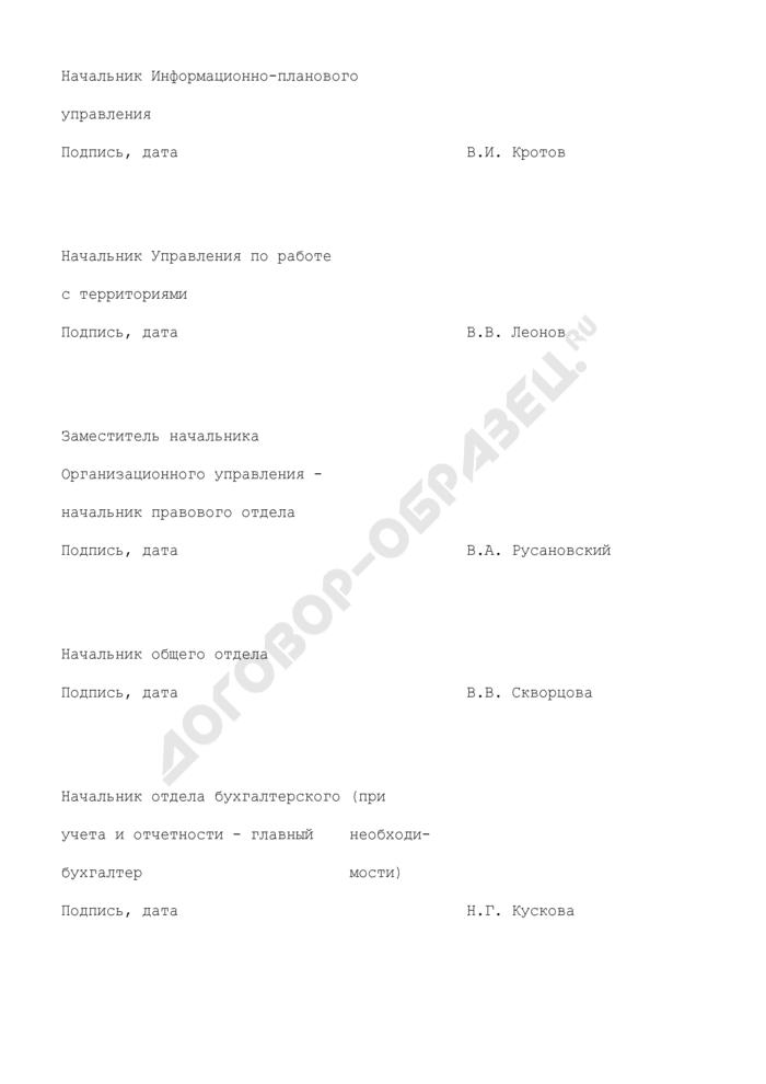 Образец листа согласования проекта приказа (распоряжения) Госадмтехнадзора Московской области. Страница 2