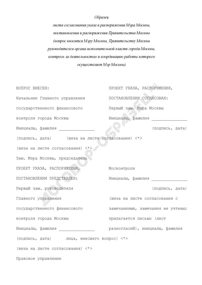 Образец листа согласования указа и распоряжения Мэра Москвы, постановления и распоряжения Правительства Москвы (вопрос вносится Мэру Москвы, Правительству Москвы руководителем органа исполнительной власти города Москвы, контроль за деятельностью и координацию работы которого осуществляет Мэр Москвы). Страница 1
