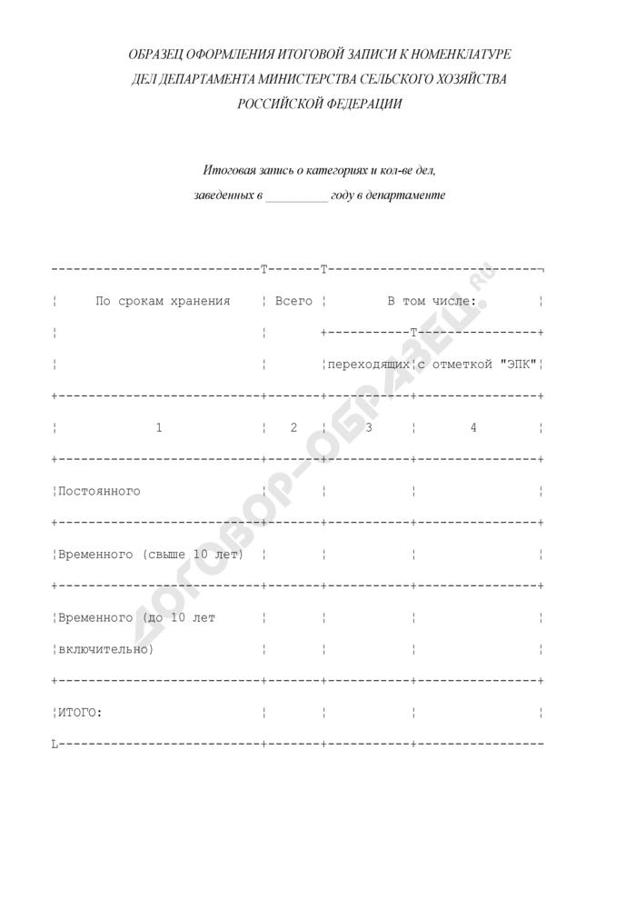 Образец оформления итоговой записи к номенклатуре дел департамента Министерства сельского хозяйства Российской Федерации. Страница 1