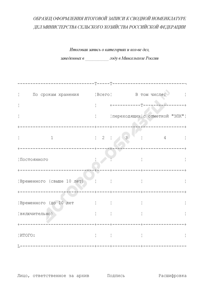 Образец оформления итоговой записи к сводной номенклатуре дел Министерства сельского хозяйства Российской Федерации. Страница 1