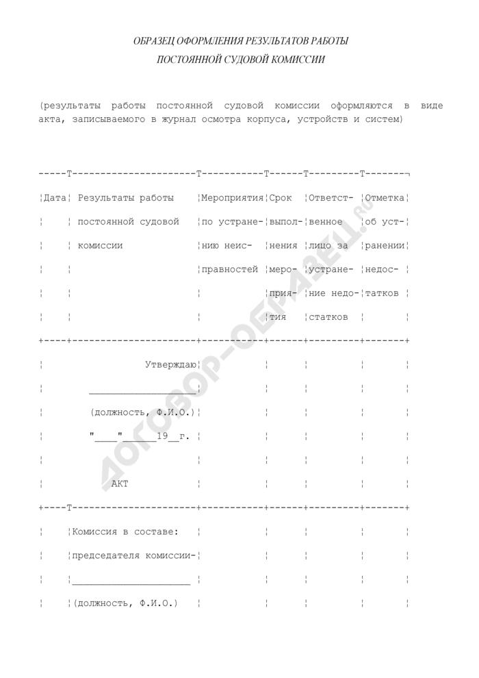 Образец оформления результатов работы постоянной судовой комиссии. Страница 1