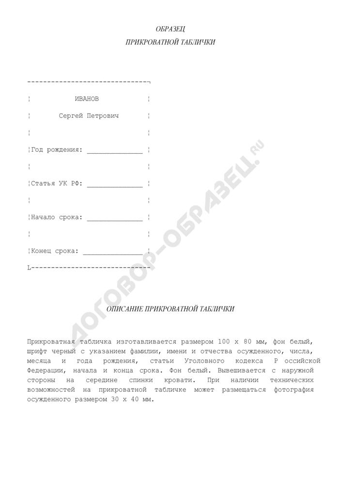 Образец прикроватной таблички осужденного в исправительном учреждении. Страница 1
