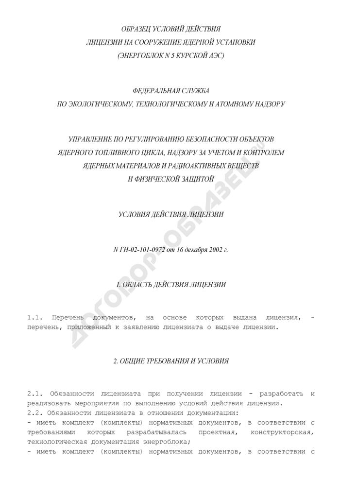Образец условий действия лицензии на сооружение ядерной установки (рекомендуемая форма). Страница 1