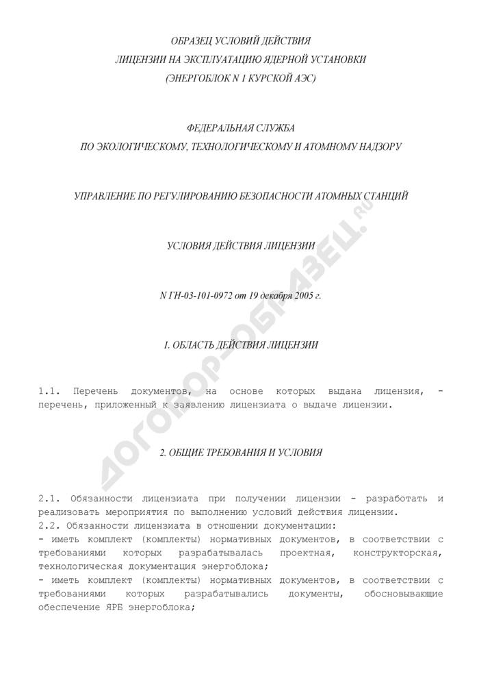 Образец условий действия лицензии на эксплуатацию ядерной установки (рекомендуемая форма). Страница 1