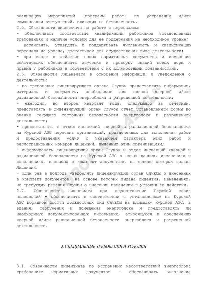 Образец условий действия лицензии на эксплуатацию ядерной установки (рекомендуемая форма). Страница 3