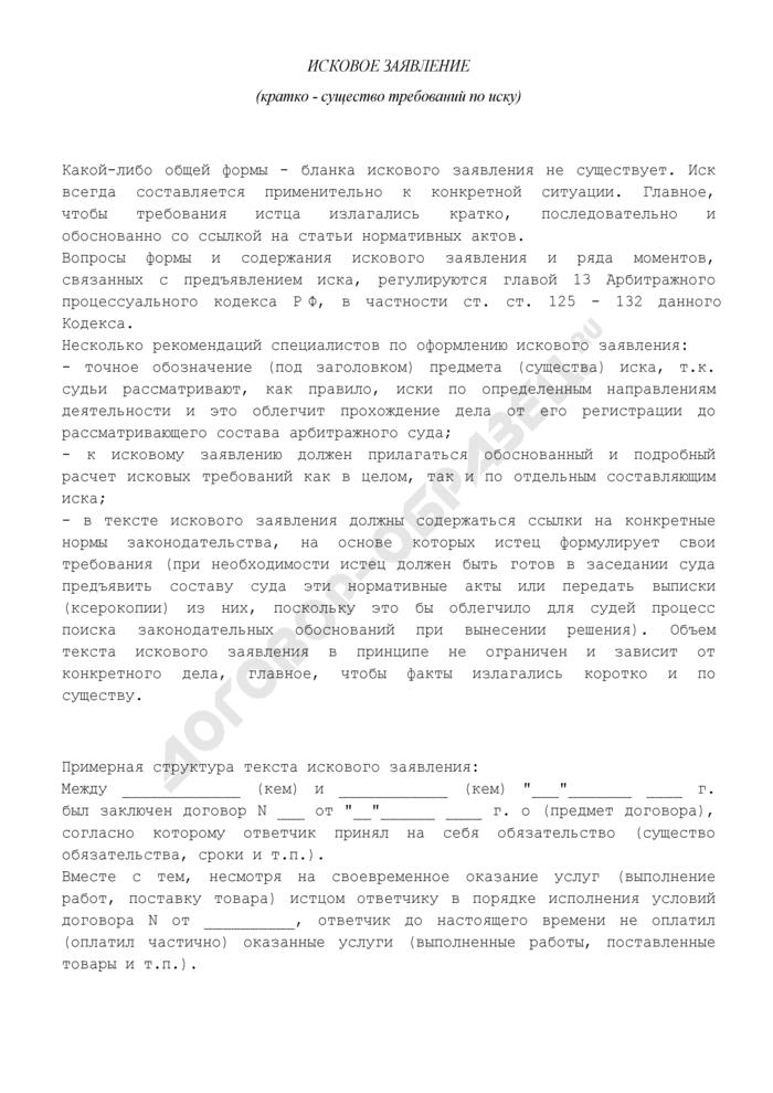 Общие рекомендации по составлению искового заявления в арбитражный суд. Страница 2