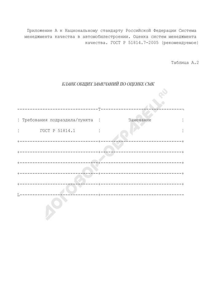 Бланк общих замечаний по оценке систем менеджмента качества (рекомендуемая форма). Страница 1