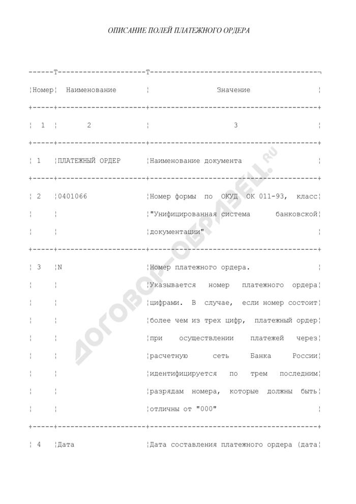 Описание полей платежного ордера. Страница 1