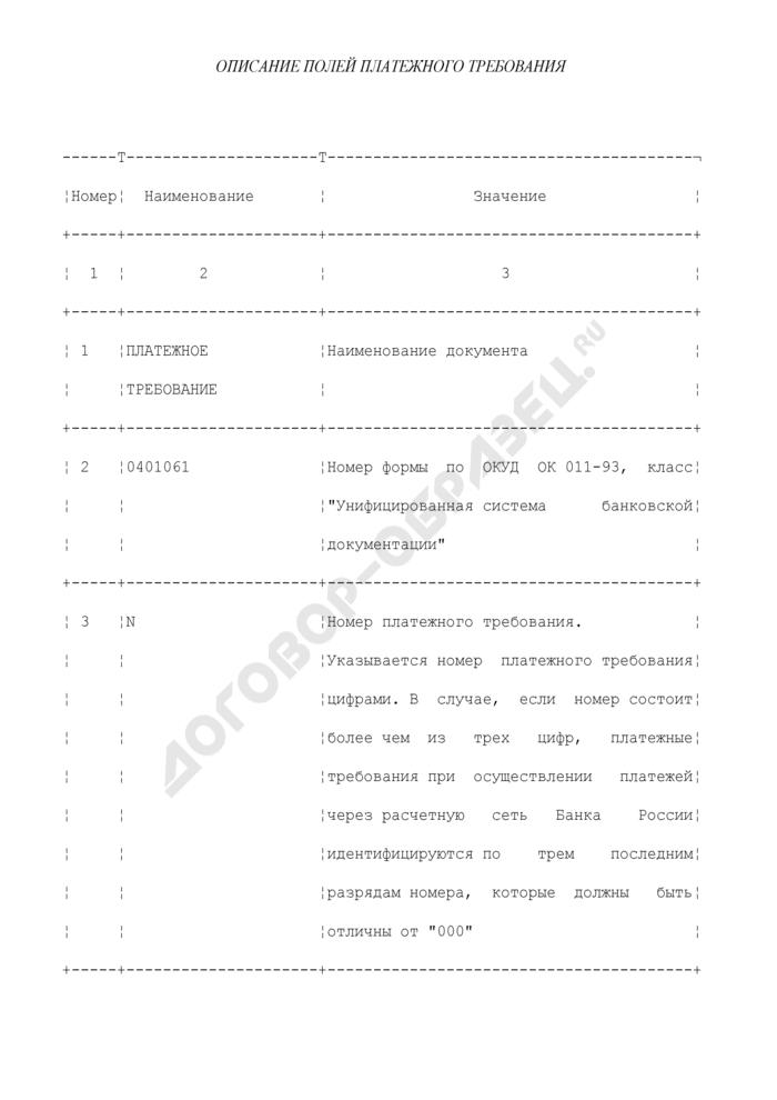 Описание полей платежного требования. Страница 1