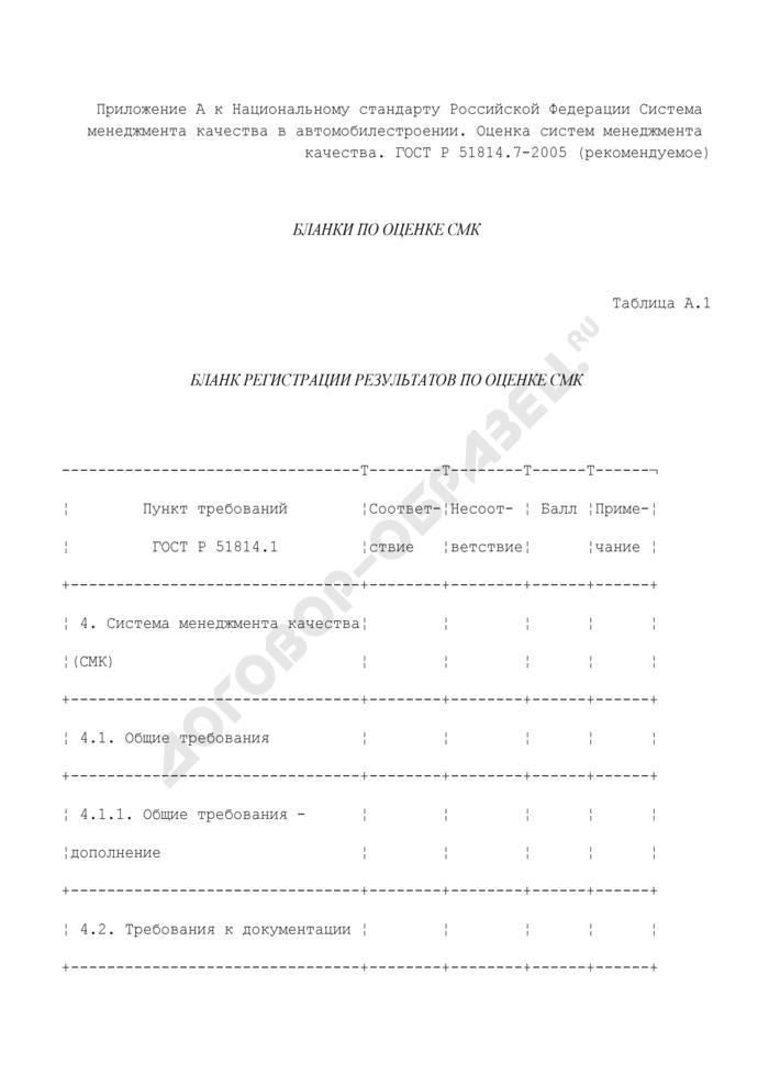 Бланк регистрации результатов по оценке систем менеджмента качества (рекомендуемая форма). Страница 1