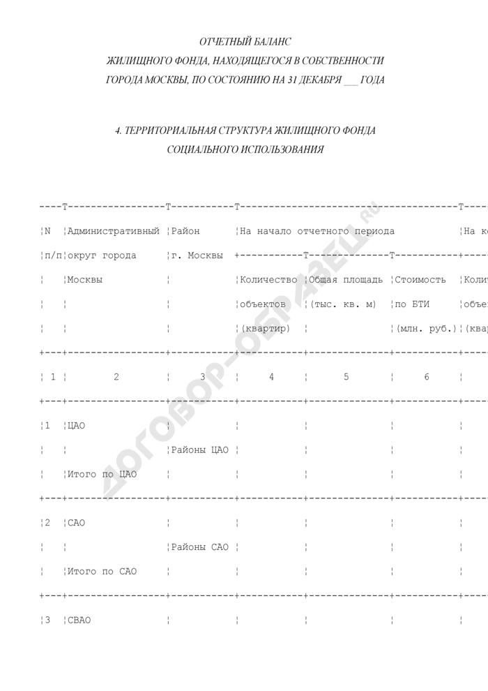 Отчетный баланс жилищного фонда, находящегося в собственности города Москвы. Форма N ОБ-4. Страница 1