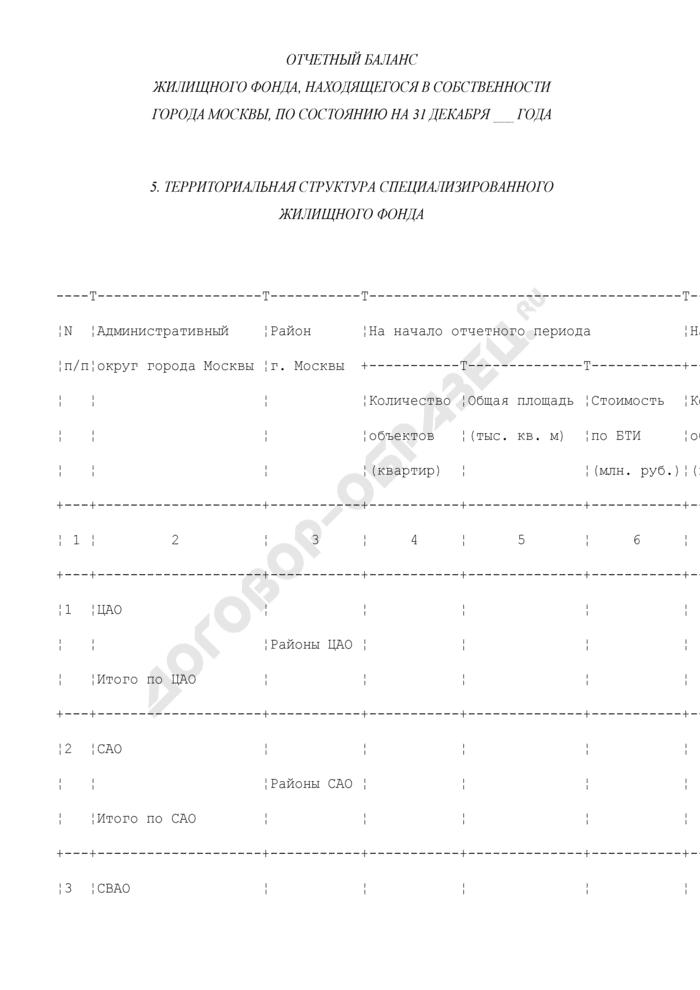 Отчетный баланс жилищного фонда, находящегося в собственности города Москвы. Форма N ОБ-5. Страница 1