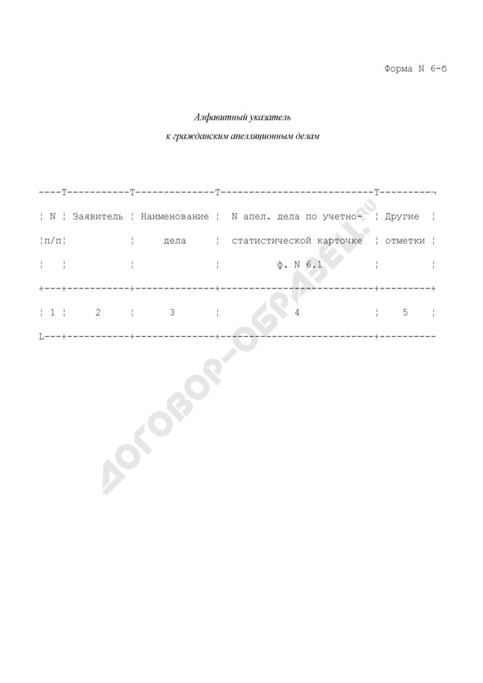 Алфавитный указатель к гражданским апелляционным делам. Форма N 6-Б. Страница 1