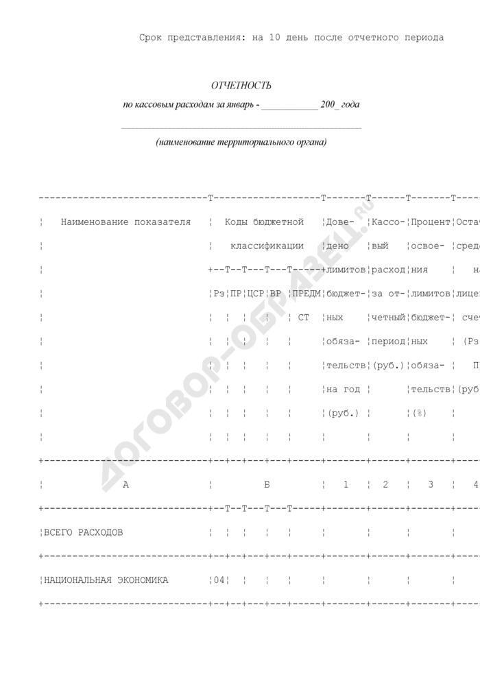 Ведомственная отчетность по кассовым расходам территориального органа Роструда. Страница 1