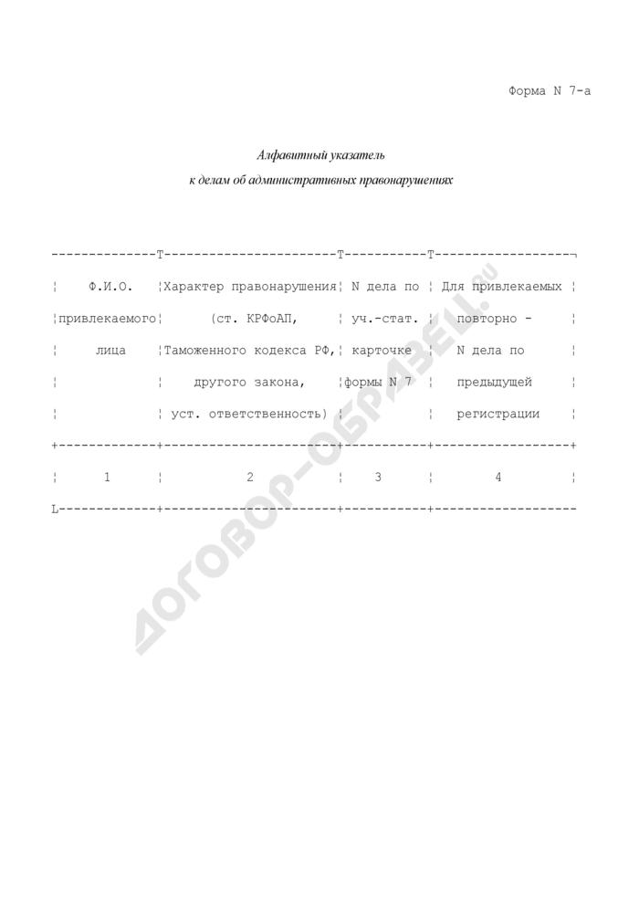 Алфавитный указатель к делам об административных правонарушениях. Форма N 7-А. Страница 1