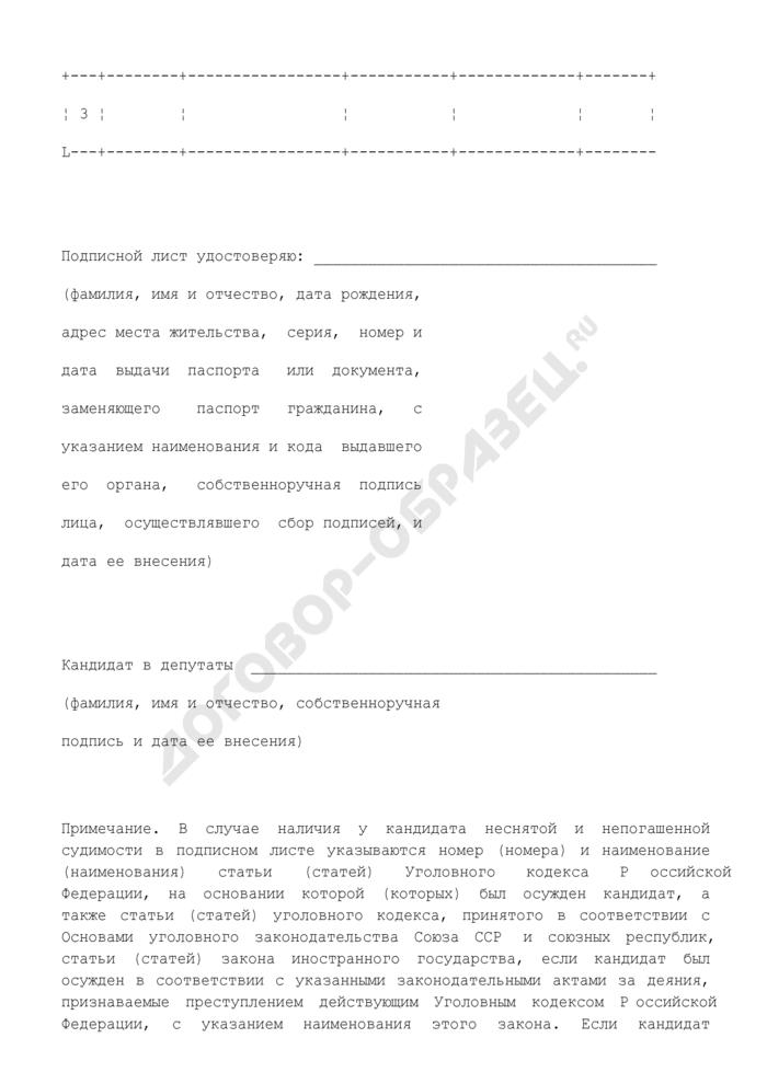 Подписной лист выборов депутатов Законодательного Собрания Пермского края первого созыва. Страница 2