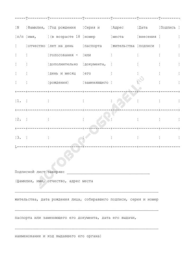 Подписной лист граждан, поддерживающих выдвижение избирательным объединением кандидата на должность главы муниципального образования. Страница 2
