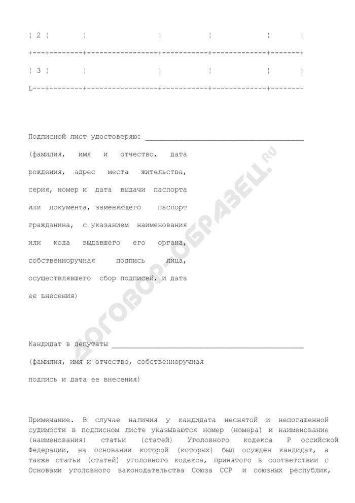 Подписной лист в поддержку кандидата в депутаты Законодательного Собрания Камчатского края первого созыва по одномандатному (многомандатному) избирательному округу. Страница 2