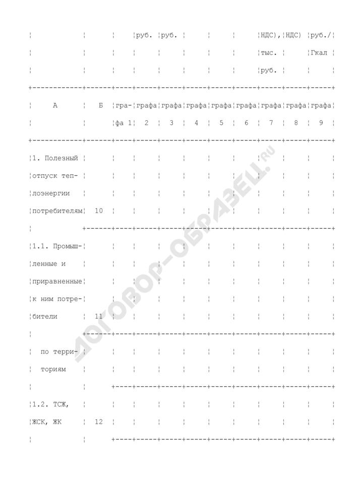 Полезный отпуск теплоэнергии. Форма N 46 тепло (таблица 5). Страница 2