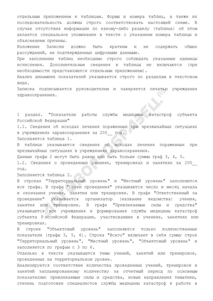 Пояснительная записка к годовому отчету службы медицины катастроф субъекта Российской Федерации. Форма N 6/МК. Страница 2