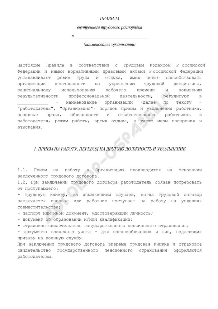 Правила внутреннего трудового распорядка организации (общества). Страница 2