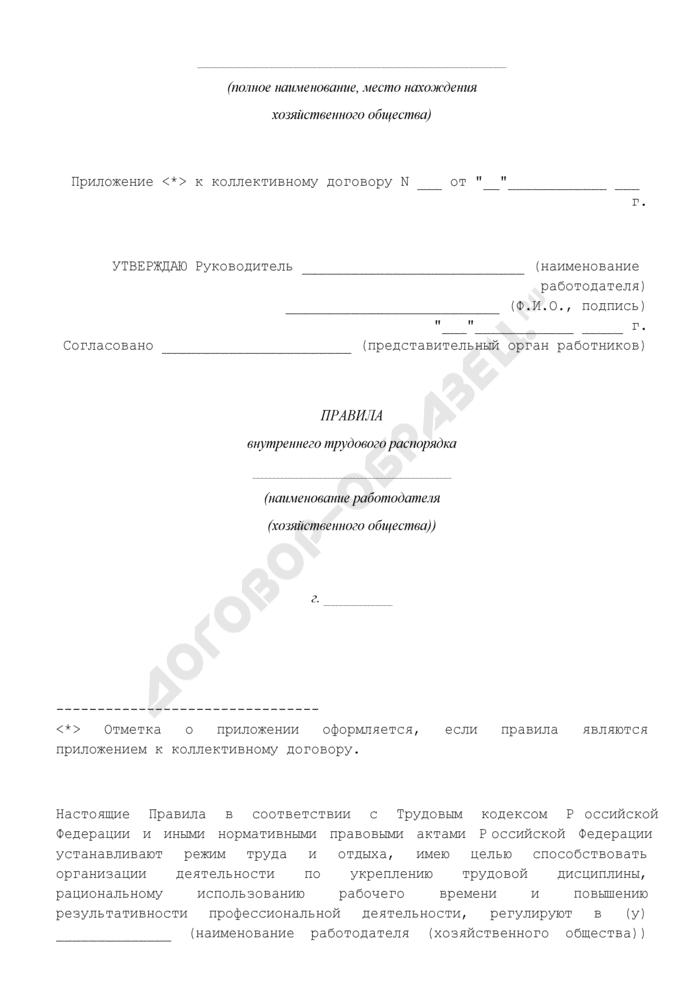 Правила внутреннего трудового распорядка работодателя (хозяйственного общества). Страница 1