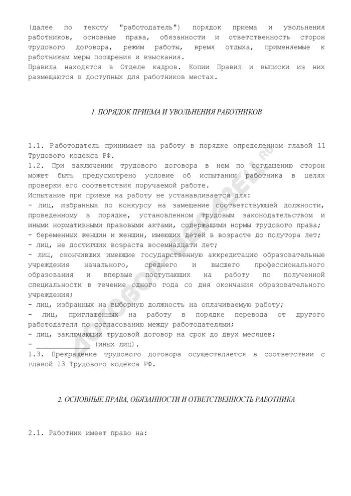 Правила внутреннего трудового распорядка работодателя (хозяйственного общества). Страница 2