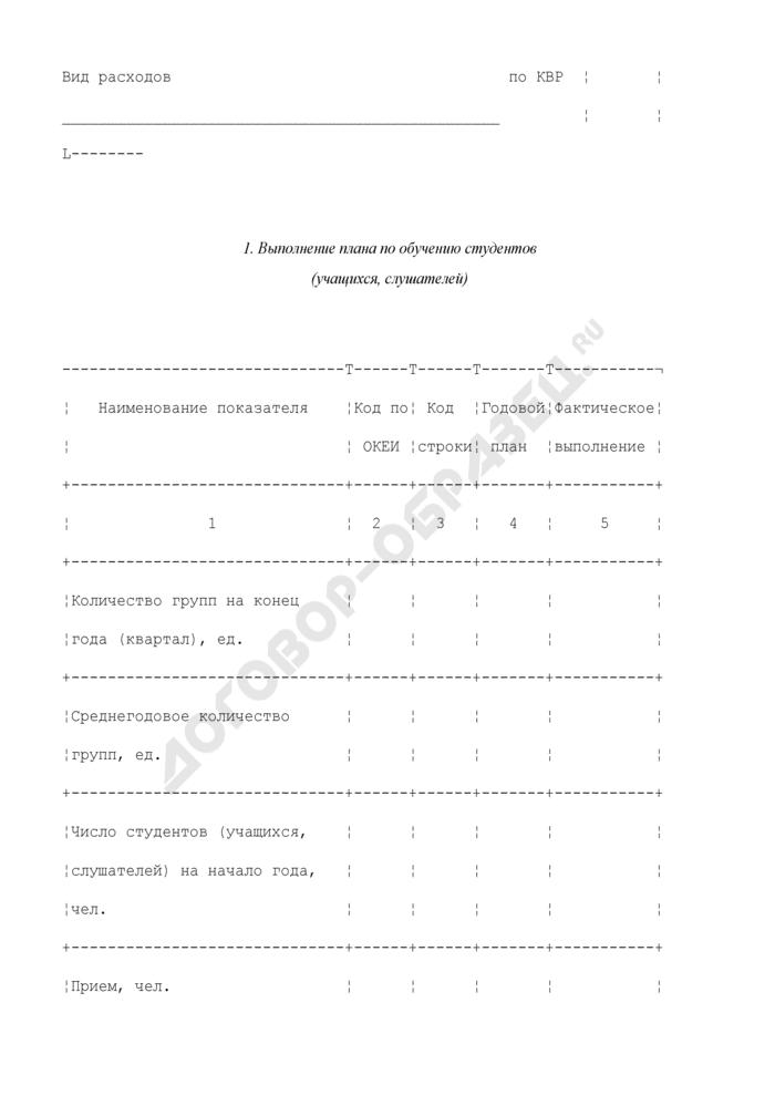 Выполнение плана по штатам и контингентам по учреждениям подготовки и повышения квалификации кадров. Форма N 3-2. Страница 2