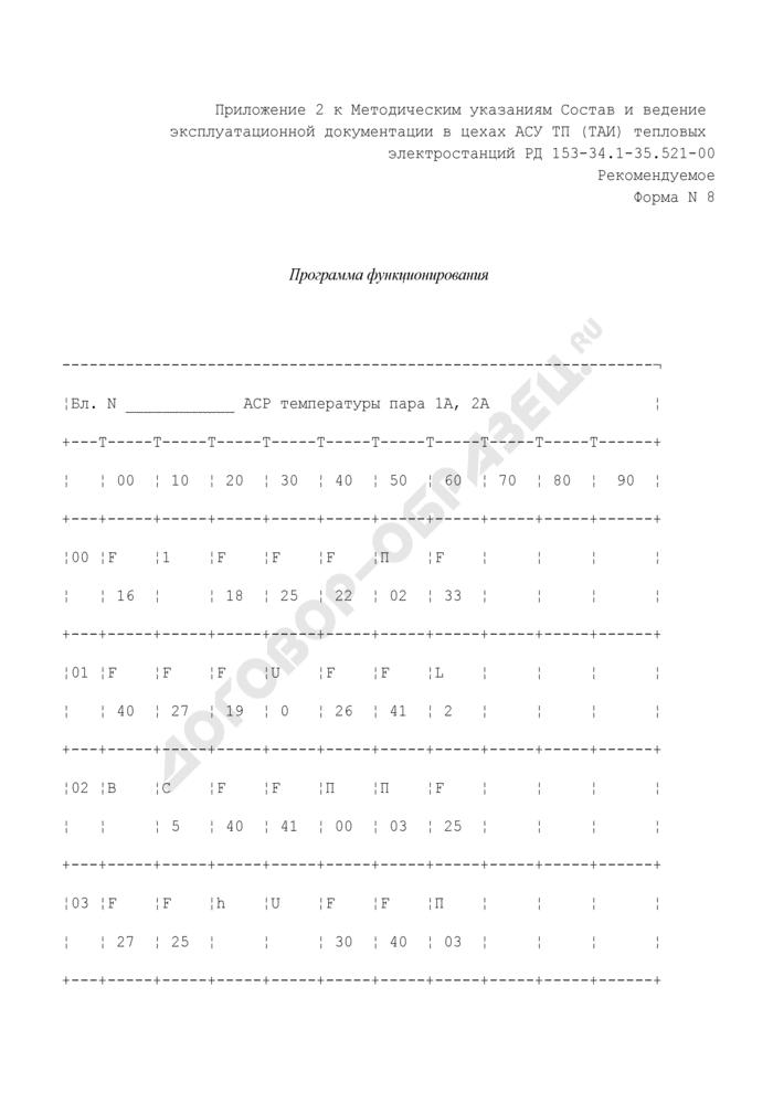 Пример заполнения программы функционирования прибора в цехах АСУ ТП (ТАИ) тепловых электростанций. Форма N 8 (рекомендуемая). Страница 1