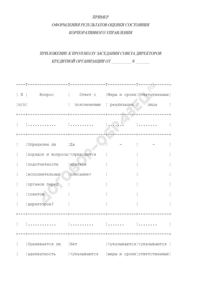 Пример оформления результатов оценки состояния корпоративного управления (приложение к протоколу заседания совета директоров кредитной организации). Страница 1