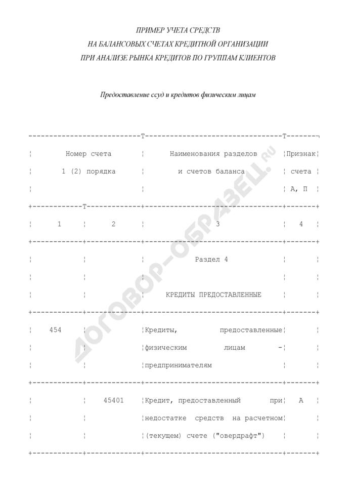 Пример учета средств на балансовых счетах кредитной организации при анализе рынка кредитов по группам клиентов. Страница 1
