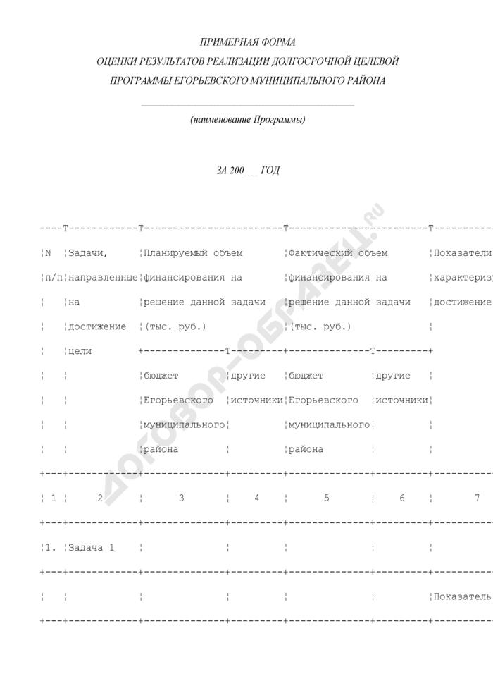Примерная форма оценки результатов реализации долгосрочной целевой программы Егорьевского муниципального района Московской области. Страница 1