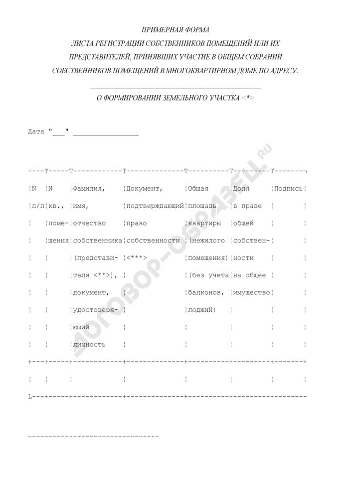 Примерная форма листа регистрации собственников помещений или их представителей, принявших участие в общем собрании собственников помещений в многоквартирном доме о формировании земельного участка в городе Москве. Страница 1
