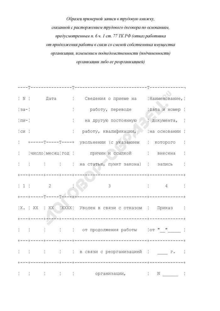 Примерная формулировка записи в трудовую книжку, связанной с расторжением трудового договора по основаниям, предусмотренным п. 6 ч. 1 ст. 77 ТК РФ (отказ работника от продолжения работы в связи со сменой собственника имущества организации, изменением подведомственности (подчиненности) организации либо ее реорганизацией). Страница 1