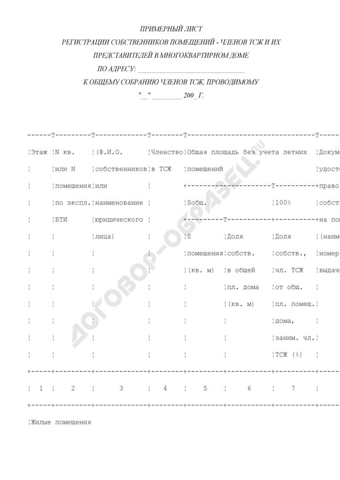 Примерный лист регистрации собственников помещений - членов ТСЖ и их представителей в многоквартирном доме в г. Москве. Страница 1