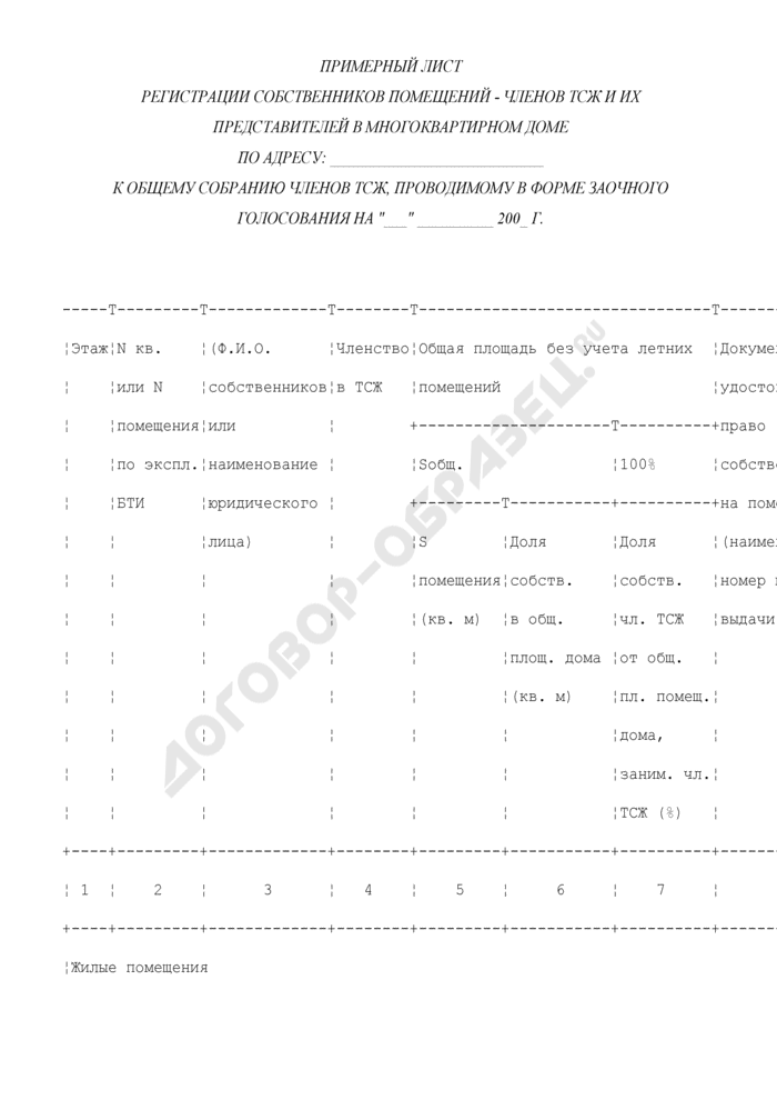 Примерный лист регистрации собственников помещений - членов ТСЖ и их представителей в многоквартирном доме в г. Москве к общему собранию членов ТСЖ, проводимому в форме заочного голосования. Страница 1