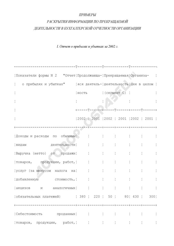 Примеры раскрытия информации по прекращаемой деятельности в бухгалтерской отчетности организации. Страница 1