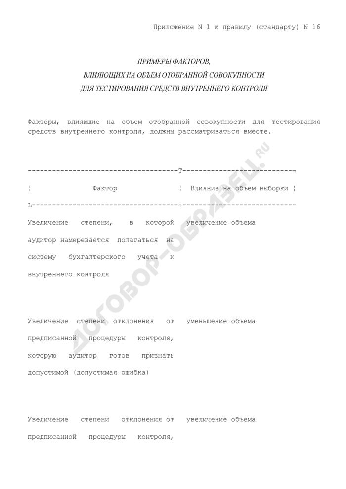 """Примеры факторов, влияющих на объем отобранной совокупности для тестирования средств внутреннего контроля (приложение к федеральному правилу (стандарту) аудиторской деятельности """"Аудиторская выборка""""). Страница 1"""