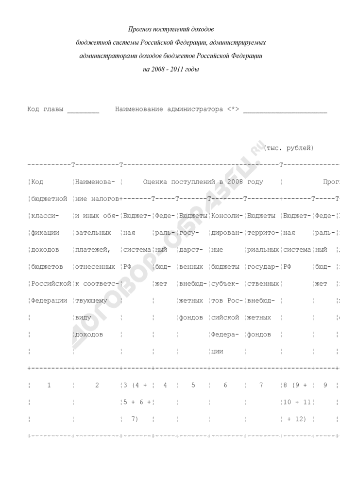 Прогноз поступлений доходов бюджетной системы Российской Федерации, администрируемых администраторами доходов бюджетов Российской Федерации на 2008 - 2011 годы. Страница 1