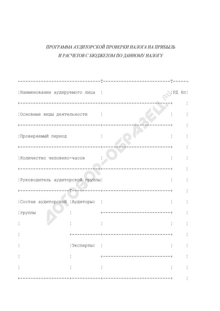 Программа аудиторской проверки налога на прибыль и расчетов с бюджетом по данному налогу. Страница 1