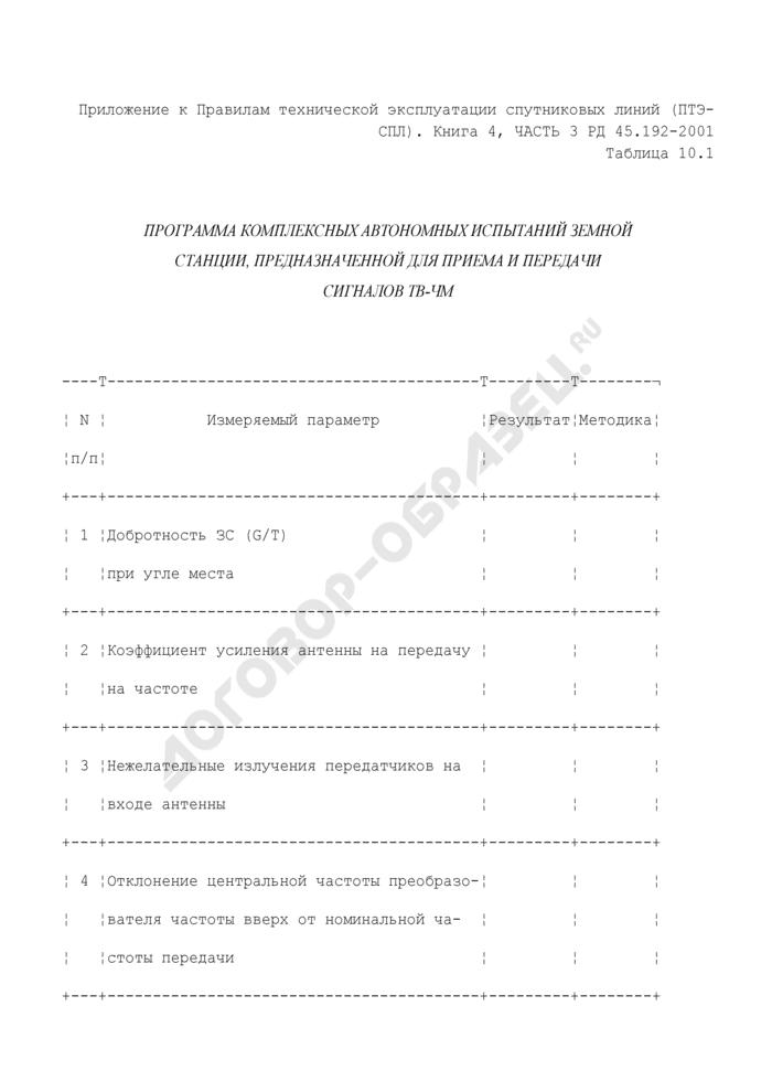 Программа комплексных автономных испытаний земной станции, предназначенной для приема и передачи сигналов ТВ-ЧМ (таблица 10.1). Страница 1