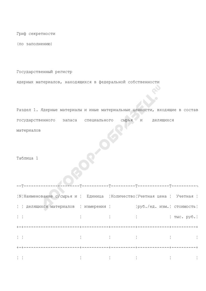 Государственный регистр ядерных материалов, находящихся в федеральной собственности. Страница 1