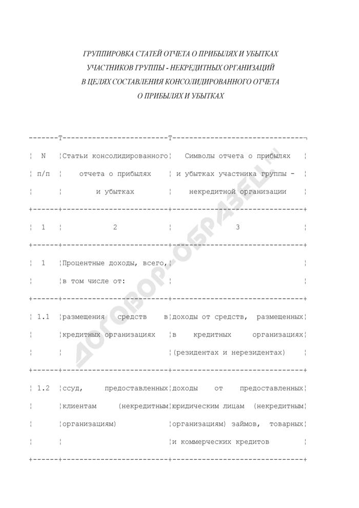 Группировка статей отчета о прибылях и убытках участников группы - некредитных организаций в целях составления консолидированного отчета о прибылях и убытках. Страница 1
