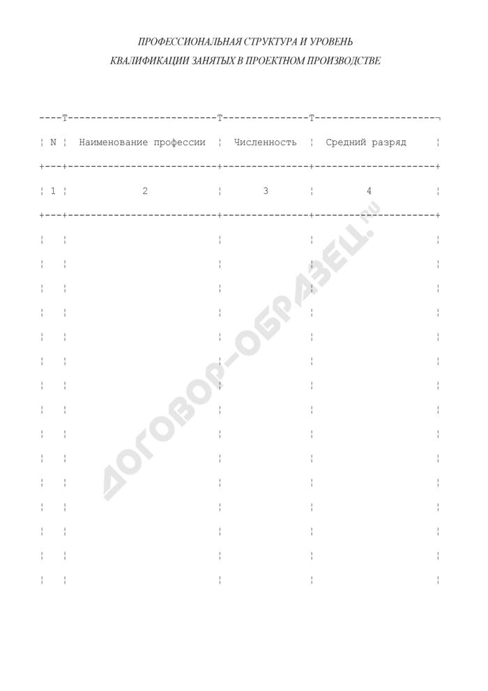 Профессиональная структура и уровень квалификации занятых в проектном производстве (приложение к анкете участника конкурса на выполнение проектно-изыскательских работ). Страница 1